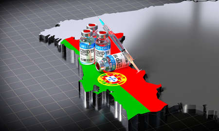 Covid-19 / SARS-CoV-2  / coronavirus vaccination in Portugal - country shape, ampoules, syringe - 3D illustration