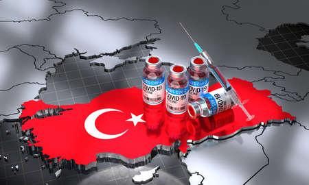 Covid-19 / SARS-CoV-2  / coronavirus vaccination in Turkey - country shape, ampoules, syringe - 3D illustration