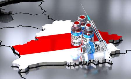 Covid-19 / SARS-CoV-2  / coronavirus vaccination in Belarus - country shape, ampoules, syringe - 3D illustration Фото со стока