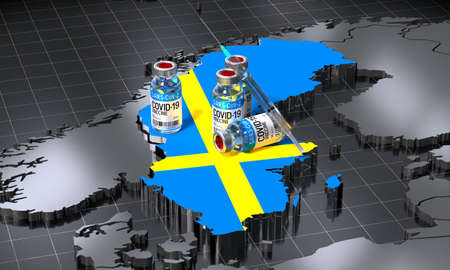 Covid-19 / SARS-CoV-2  / coronavirus vaccination in Sweden - country shape, ampoules, syringe - 3D illustration