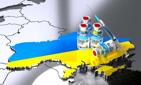Covid-19 / SARS-CoV-2  / coronavirus vaccination in Ukraine - country shape, ampoules, syringe - 3D illustration Фото со стока