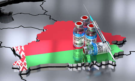 Covid-19 / SARS-CoV-2  / coronavirus vaccination in Belarus - country shape, ampoules, syringe - 3D illustration Banque d'images