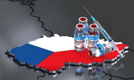 Covid-19 / SARS-CoV-2  / coronavirus vaccination in Czech Republic - country shape, ampoules, syringe - 3D illustration