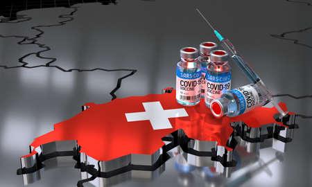 Covid-19 / SARS-CoV-2  / coronavirus vaccination in Switzerland - country shape, ampoules, syringe - 3D illustration