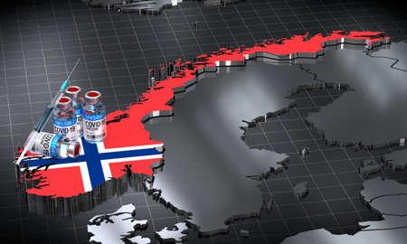 Covid-19 / SARS-CoV-2  / coronavirus vaccination in Norway - country shape, ampoules, syringe - 3D illustration Фото со стока