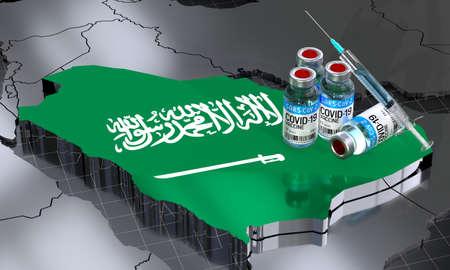 SARS-CoV-2  / virus vaccination in Saudi Arabia - country shape, ampoules, syringe - 3D illustration Фото со стока