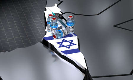 SARS-CoV-2  / virus vaccination in Israel - country shape, ampoules, syringe - 3D illustration
