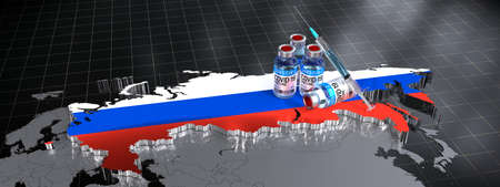 SARS-CoV-2  / virus vaccination in Russia - country shape, ampoules, syringe - 3D illustration