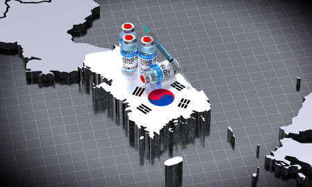SARS-CoV-2  / virus vaccination in South Korea - country shape, ampoules, syringe - 3D illustration