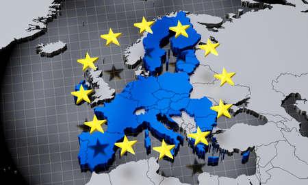European Union map and flag - 3D illustration Banque d'images