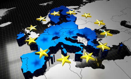 European Union map and flag - 3D illustration Фото со стока
