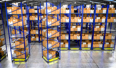 Warehouse with packages, rack shelves and robots - 3D illustration Banque d'images