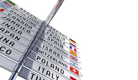 Signpost with national flags of different countries, white background - 3D illustration