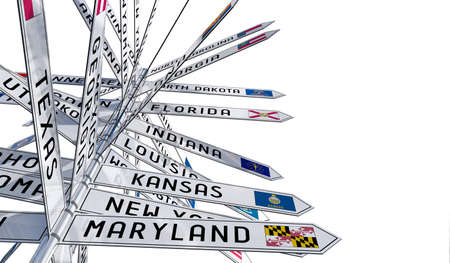 Signpost with different states in the USA, white background - 3D illustration Stockfoto