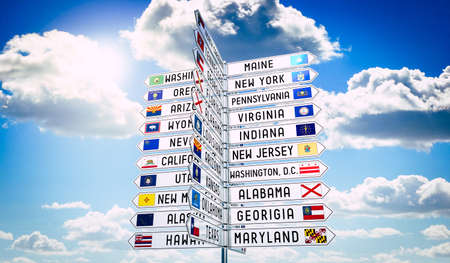 Signpost with different states in the USA, sky in background - 3D illustration