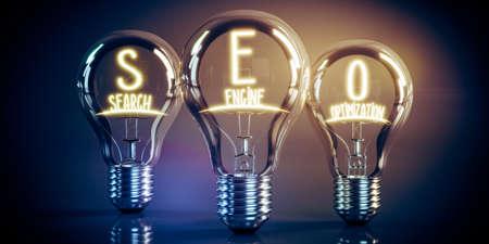 SEO, search engine optimization concept - shining light bulbs - 3D illustration