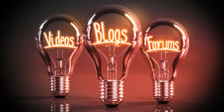 Videos, blogs, forums concept - shining light bulbs - 3D illustration