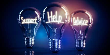Support, help, advice concept - shining light bulbs - 3D illustration