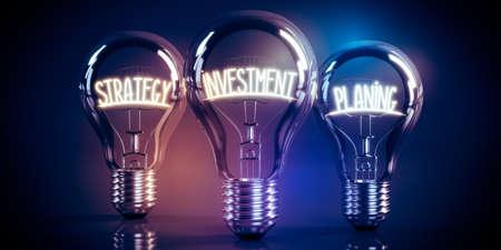Strategy, investment, planning concept - shining light bulbs - 3D illustration Stockfoto