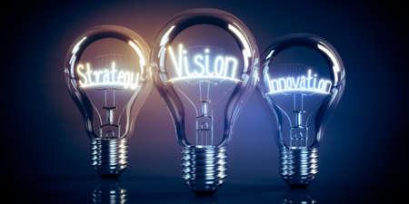 Vision, strategy, innovation concept - shining light bulbs - 3D illustration