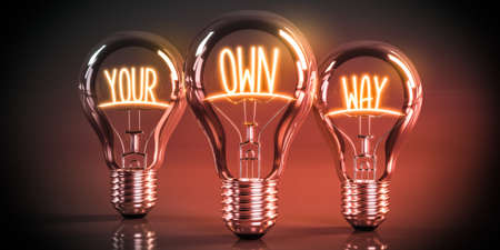 Your own way concept - shining light bulbs - 3D illustration Stockfoto