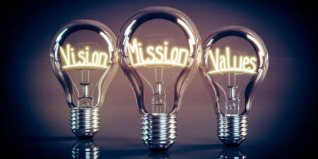 Vision, mission, values - shining light bulbs - 3D illustration