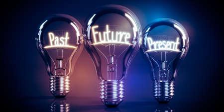 Future, present, past concept - shining light bulbs - 3D illustration