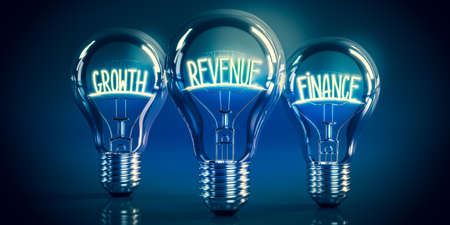 Growth, revenue, finance concept - shining light bulbs - 3D illustration Stockfoto