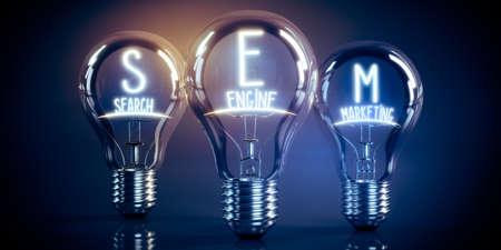 SEM, search engine marketing concept - shining light bulbs - 3D illustration Stockfoto