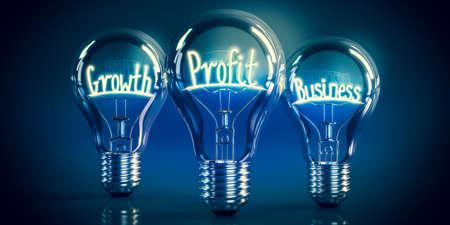 Growth, profit, business concept - shining light bulbs - 3D illustration