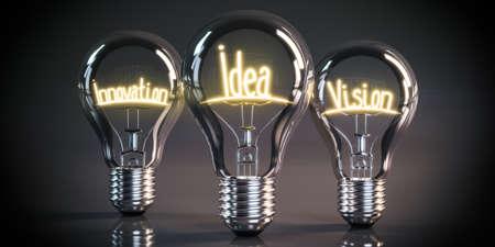 Innovation, idea, vision concept - shining light bulbs - 3D illustration