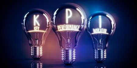 KPI, key performance indicators concept - shining light bulbs - 3D illustration Stockfoto