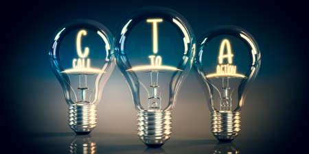 CTA, call to action concept - shining light bulbs - 3D illustration