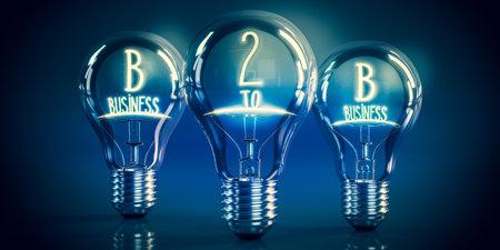 B2B, business to business concept - shining light bulbs - 3D illustration