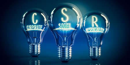 CSR, corporate social responsibility concept - shining light bulbs - 3D illustration Stockfoto
