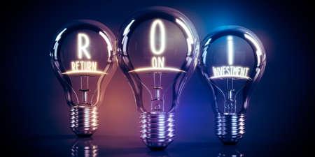 ROI, return on investment concept - shining light bulbs - 3D illustration