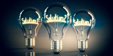 Solution 1, 2, 3 concept - shining light bulbs - 3D illustration
