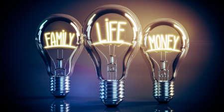 Family, life, money concept - shining light bulbs - 3D illustration Stockfoto