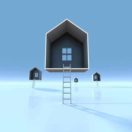 getting away from it all: Many ladders leading house. (Digitally generated image) Stock Photo