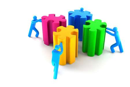 People making puzzle. (Digitally generated image) photo