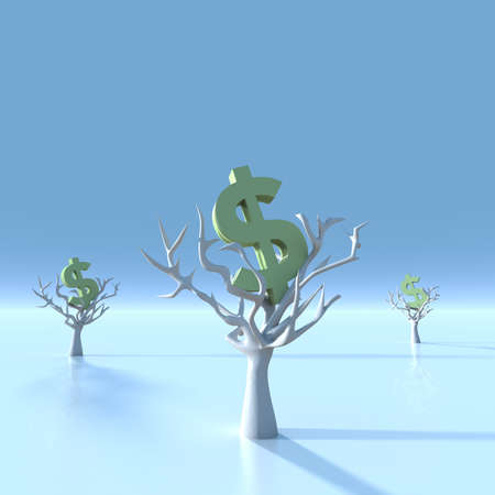 Many trees with dollar signs. (Digitally generated image) photo