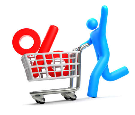 Person pushing shopping cart with percentage sign. (Digitally generated image) photo