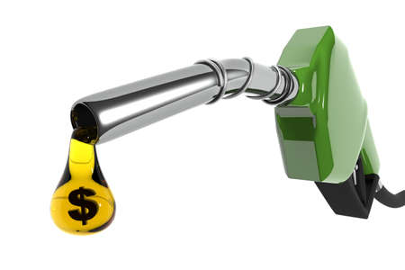 digitally generated image: A fuel pump with a drop of petrol in dollar sign. (Digitally generated image) Stock Photo