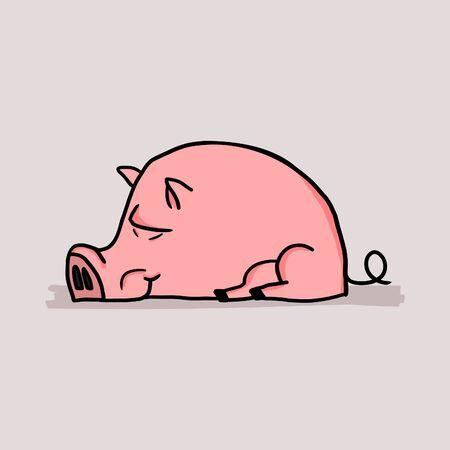 Cute sleeping pig in cartoon childish style.