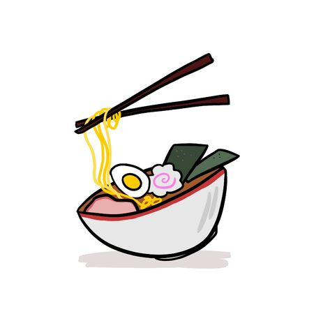 Ramen soup and chopsticks. Served in a traditional bowl. Japanese food, hand drawn cartoon illustration. Vettoriali