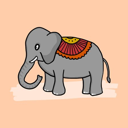 Cartoon doodle elephant with traditional indian decoration. Isolated vector drawing in childish style. Archivio Fotografico - 150091415