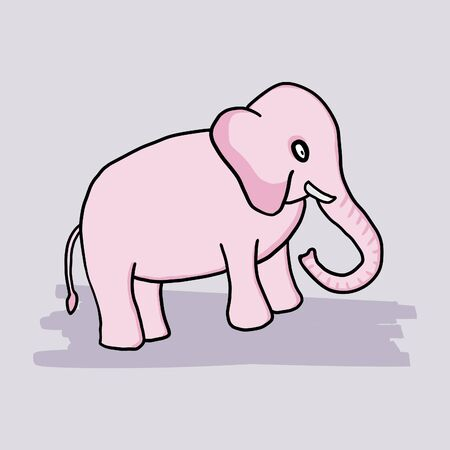 Pink little cartoon elephant. Simple childish drawing. Archivio Fotografico - 150043081