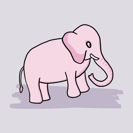 Pink little cartoon elephant. Simple childish drawing. Vettoriali