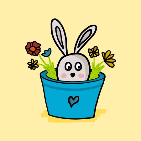 Cute bunny, rabbit mascot hiding in blue flower pot. Crazy hand drawn doodle vector illustration. Isolated spring drawing. Easter card design. Illustration