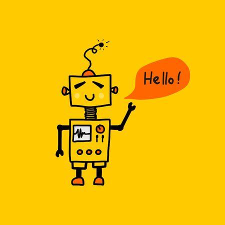 Hand drawn robot mascot character doodle. Great design for tee print. Ilustração